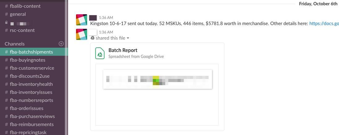 Slack Batch Template - Online Arbitrage - Sellerspaceship.com