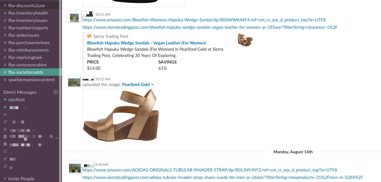 Slack Channel #fba-variationadds - Online Arbitrage - Sellerspaceship.com