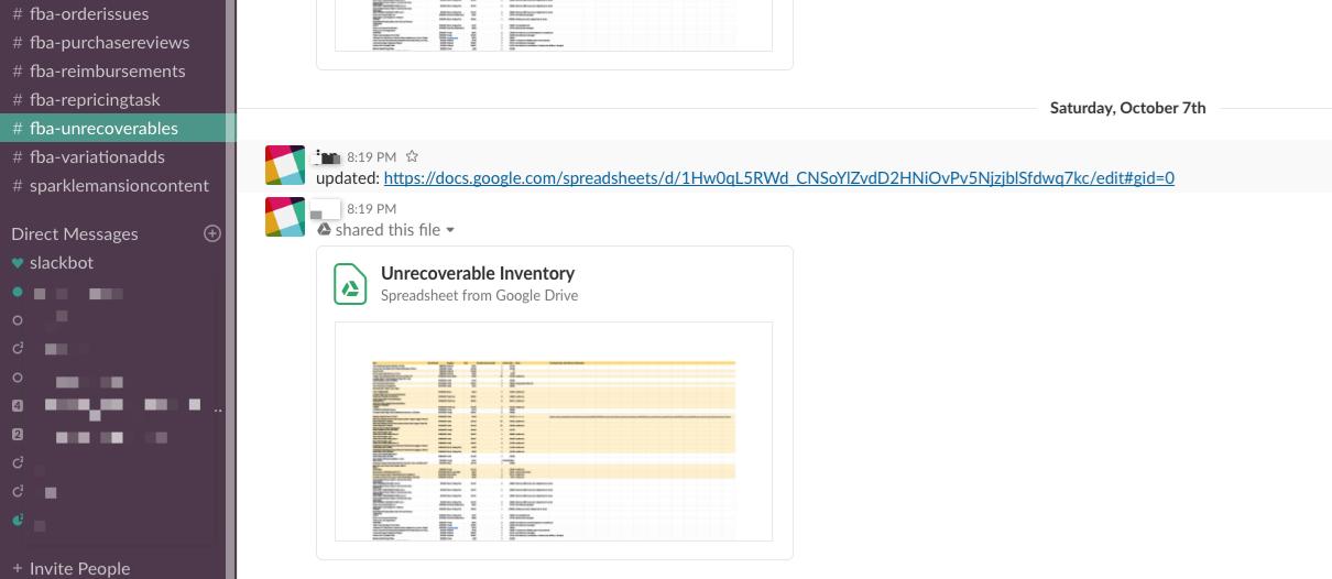 Slack Channel #fba-unrecoverables - Online Arbitrage - Sellerspaceship.com