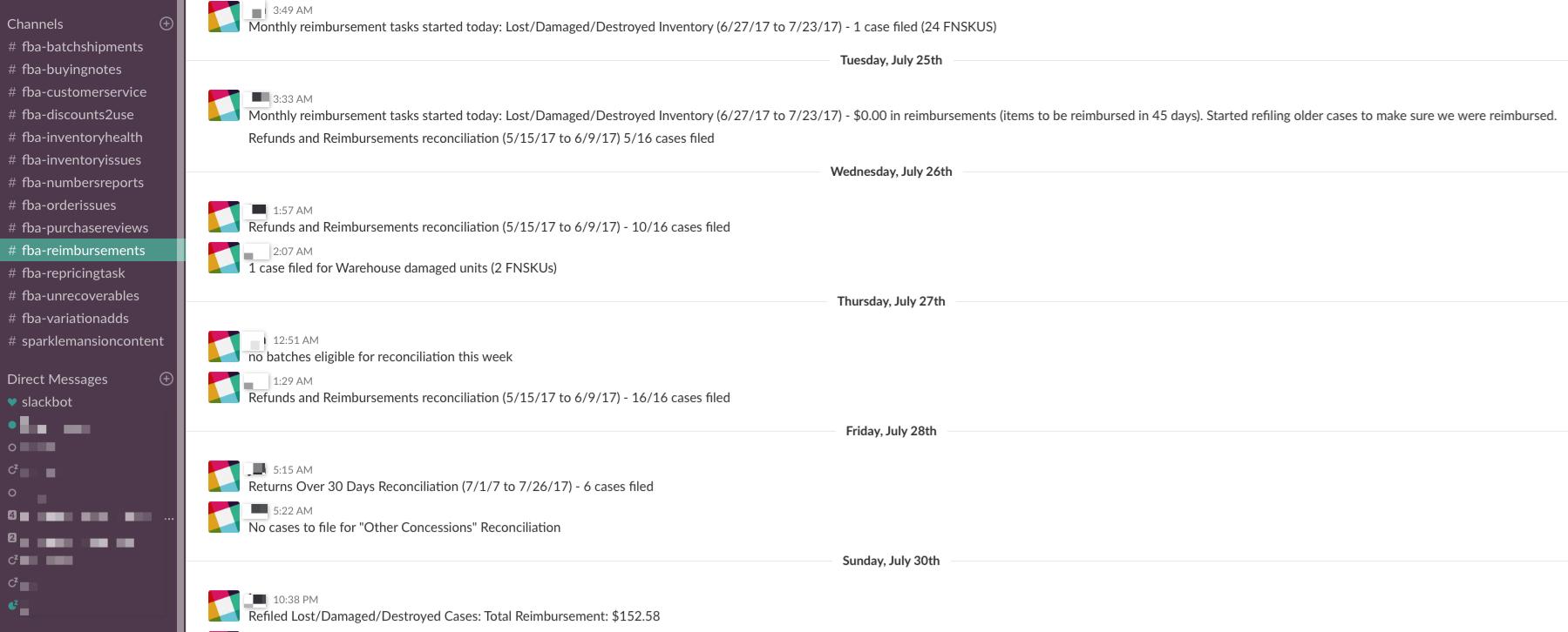 Slack Channel #fba-reimbursements - Online Arbitrage - Sellerspaceship.com