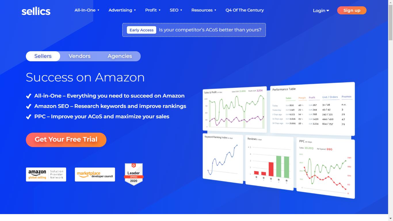 Sellics Homepage